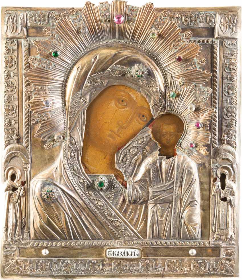 ICON OF THE MOTHER OF GOD OF KAZAN (KAZANSKAYA) WITH VERMEIL-OKLAD - photo 1