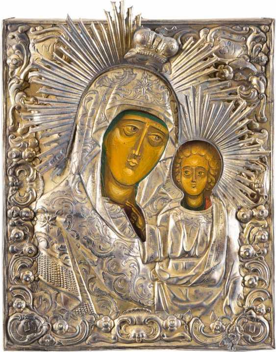 SMALL ICON OF MOTHER OF GOD OF KAZAN (KAZANSKAYA) WITH VERMEIL-OKLAD - photo 1