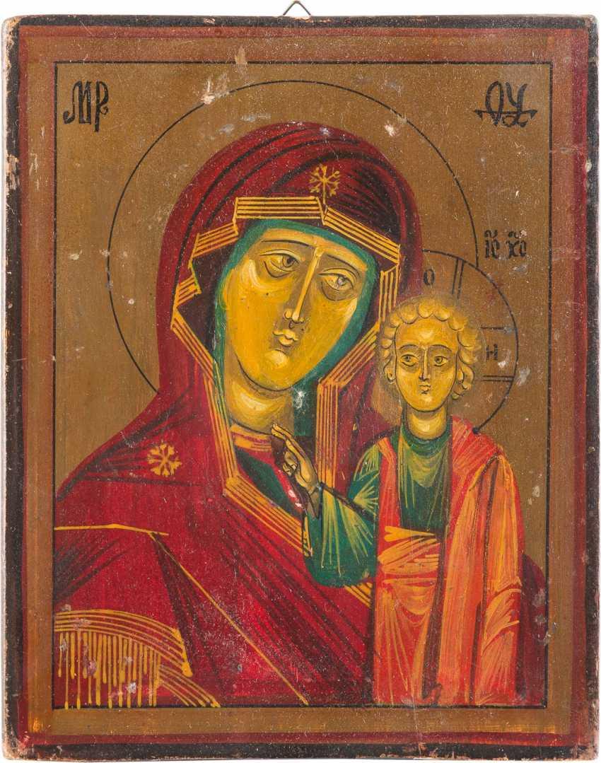 SMALL ICON OF MOTHER OF GOD OF KAZAN (KAZANSKAYA) WITH VERMEIL-OKLAD - photo 2