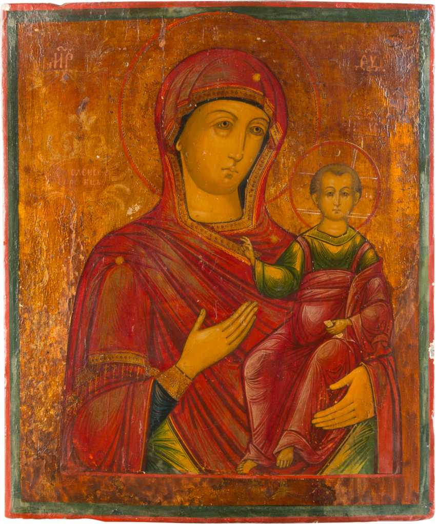TWO LARGE ICONS: MOTHER OF GOD OF SMOLENSK AND CHRIST PANTOKRATOR - photo 2