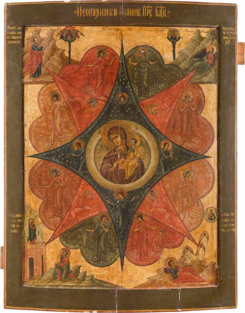 A MONUMENTAL ICON WITH THE MOTHER OF GOD 'NON-COMBUSTIBLE BUSH' FROM A CHURCH IKONSTASE - photo 1