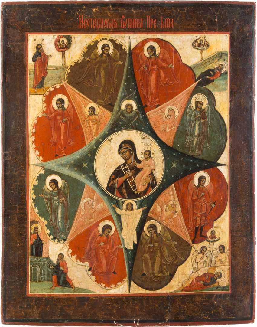 LARGE ICON OF THE MOTHER OF GOD 'NON-COMBUSTIBLE BUSH' - photo 1