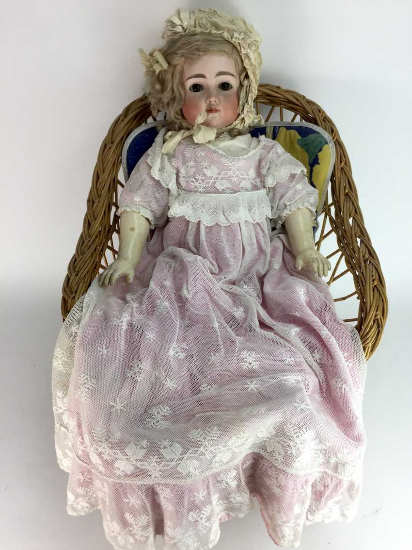 Very large porcelain head doll / jointed doll, swords mark, 70 cm, 1900's, old clothing, leather shoes, very good. - photo 1