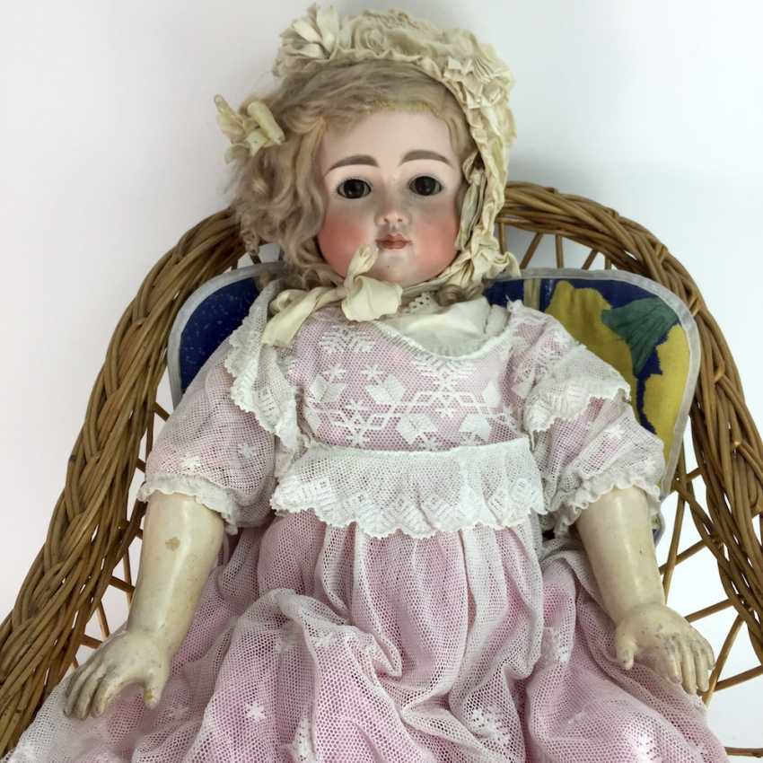 Very large porcelain head doll / jointed doll, swords mark, 70 cm, 1900's, old clothing, leather shoes, very good. - photo 2