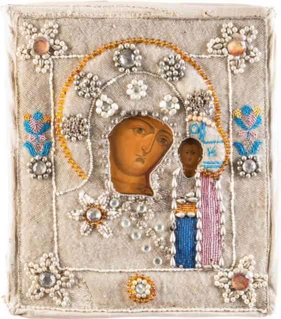 ICON OF THE MOTHER OF GOD OF KAZAN (KAZANSKAYA) WITH PERL-RIZA - photo 1