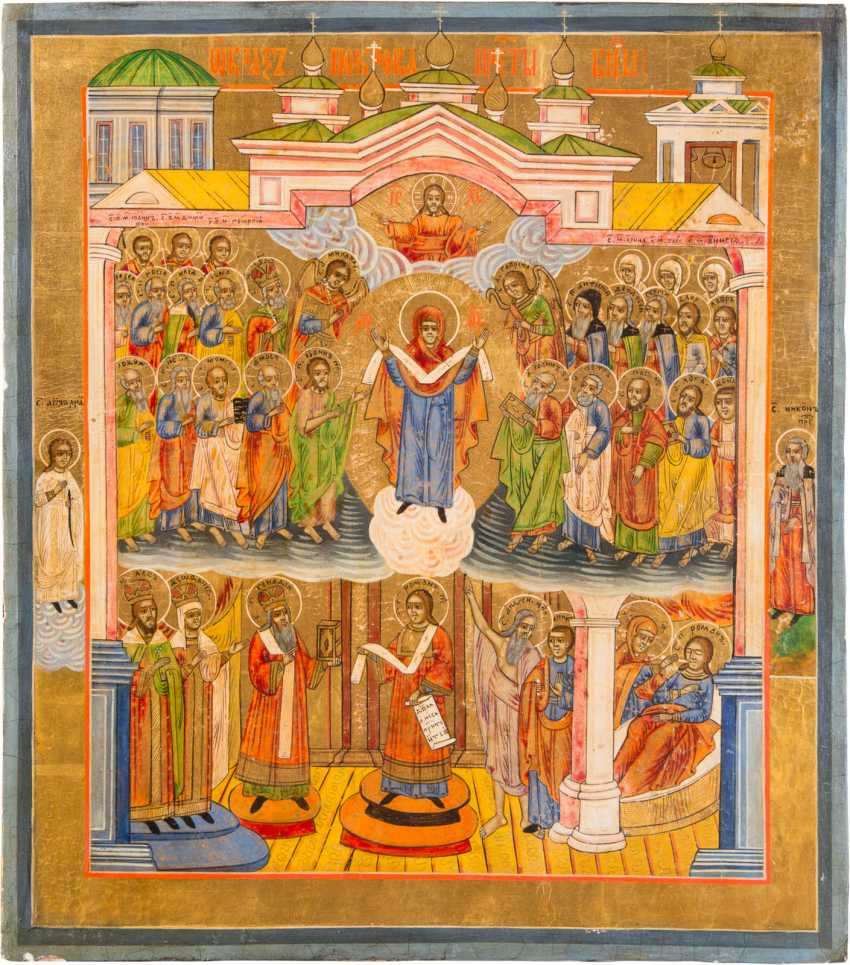 A BIG ICON WITH THE VEIL MIRACLE (MOTHER OF GOD POKROV) - photo 1