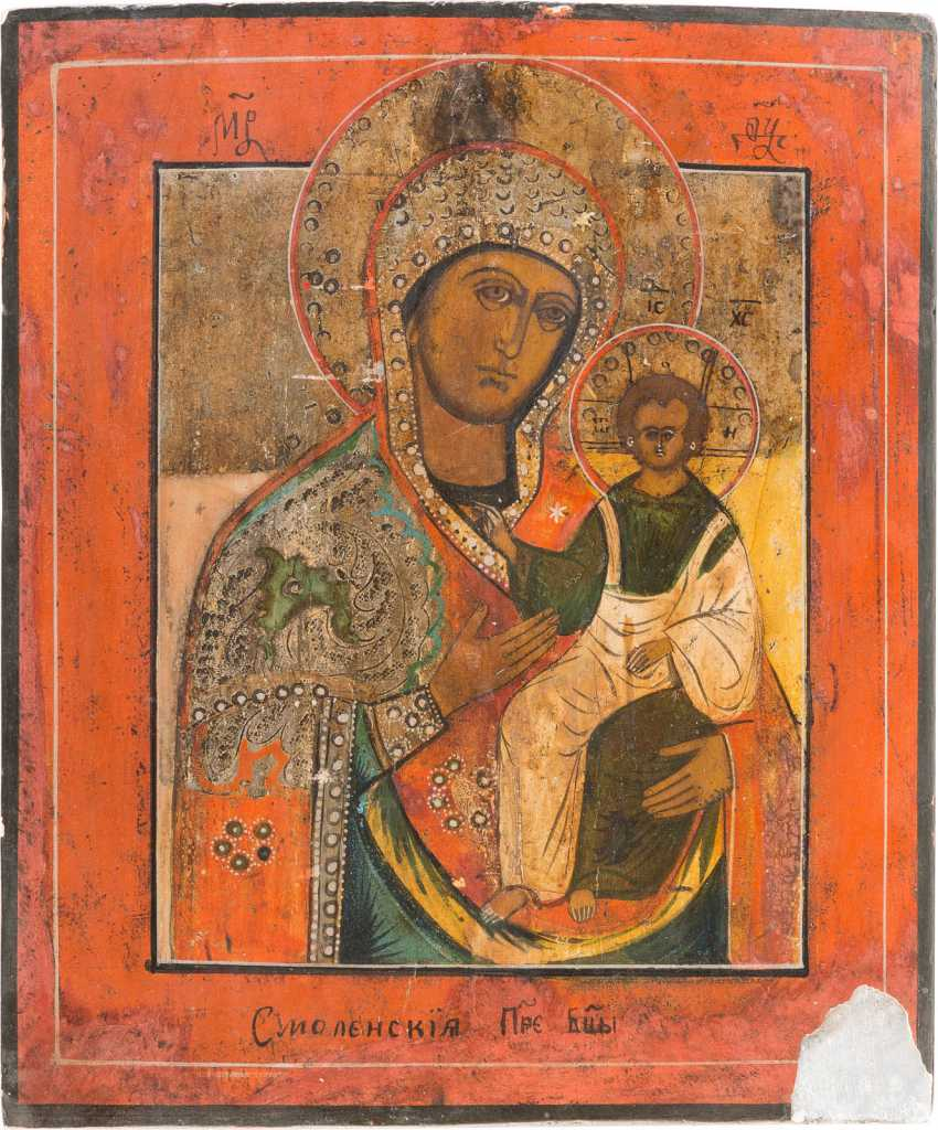 TWO ICONS WITH MERCY PICTURES OF THE MOTHER OF GOD: MOTHER OF GOD OF SMOLENSK MOTHER OF GOD FROM A DEESIS - photo 3