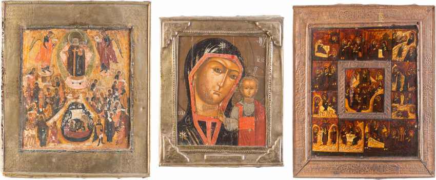 THREE ICONS WITH BASMA: THE MOTHER OF GOD OF KAZAN, TAGS ICON OF THE MOTHER OF GOD 'JOY OF ALL WHO SORROW' - photo 1