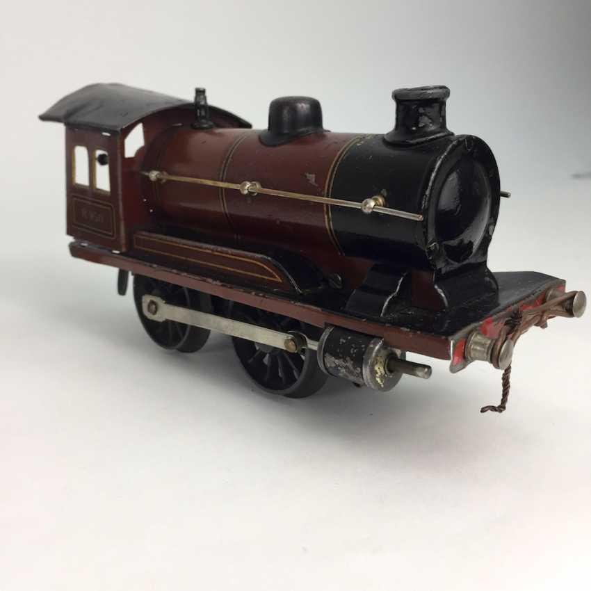 MÄRKLIN track 0, R950, Trailing tender locomotive, maroon/black, clockwork intact, with Tender R959, more followers, and rails. - photo 5