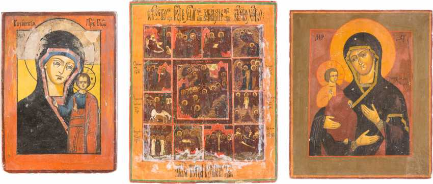THREE ICONS: THE MOTHER OF GOD OF KAZAN, THE THREE HANDED MOTHER OF GOD, AND FESTIVE ICON - photo 1