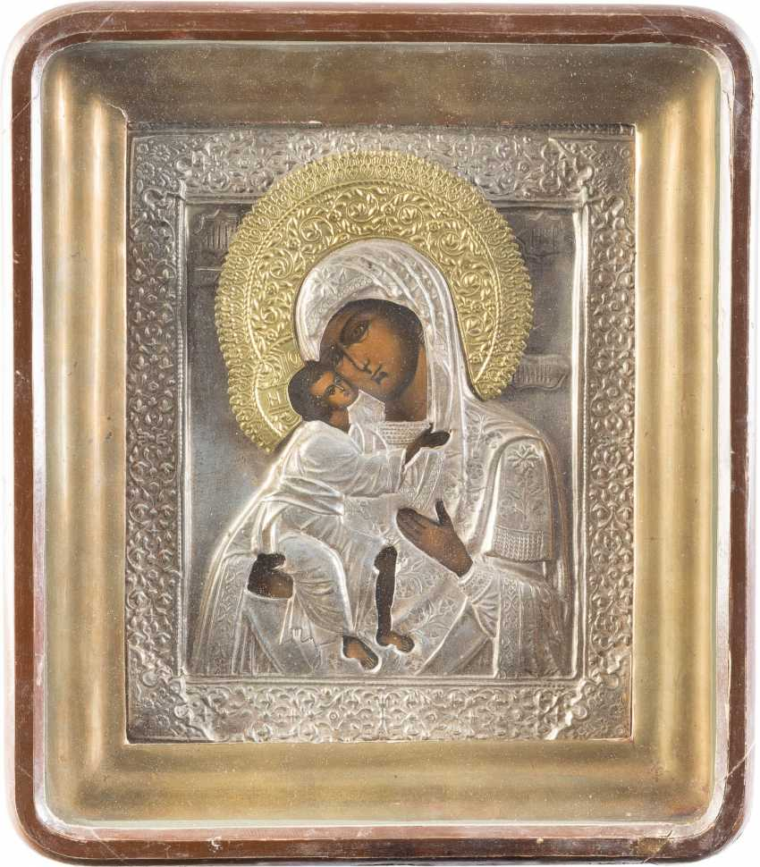 TWO ICONS WITH MERCY PICTURES OF THE MOTHER OF GOD WITH OKLAD, IN THE ICON CASE: THE MOTHER OF GOD OF KAZAN AND MOTHER OF GOD OF FEODOR - photo 3