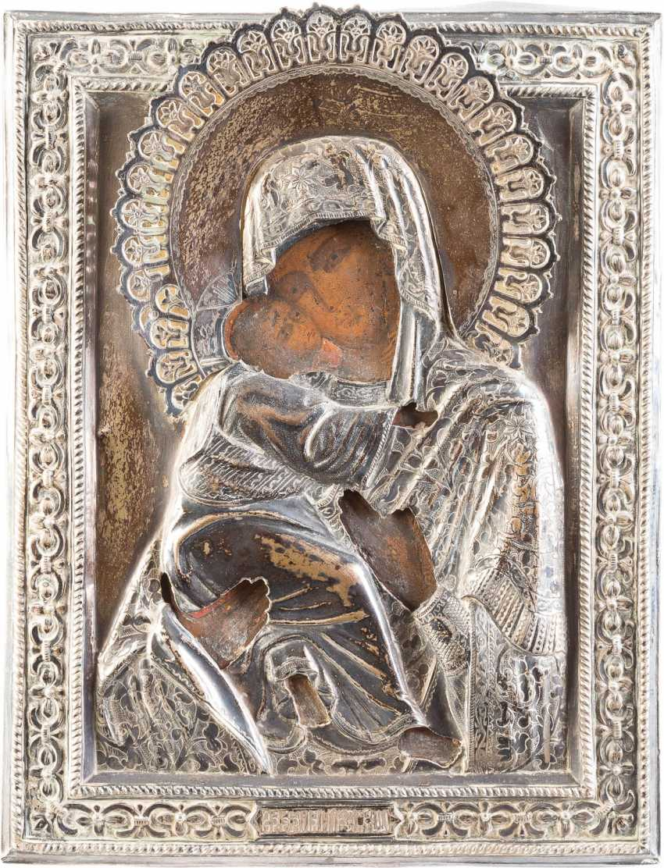 SMALL ICON OF MOTHER OF GOD OF VLADIMIR (VLADIMIRSKAYA) WITH SILVER OKLAD - photo 1