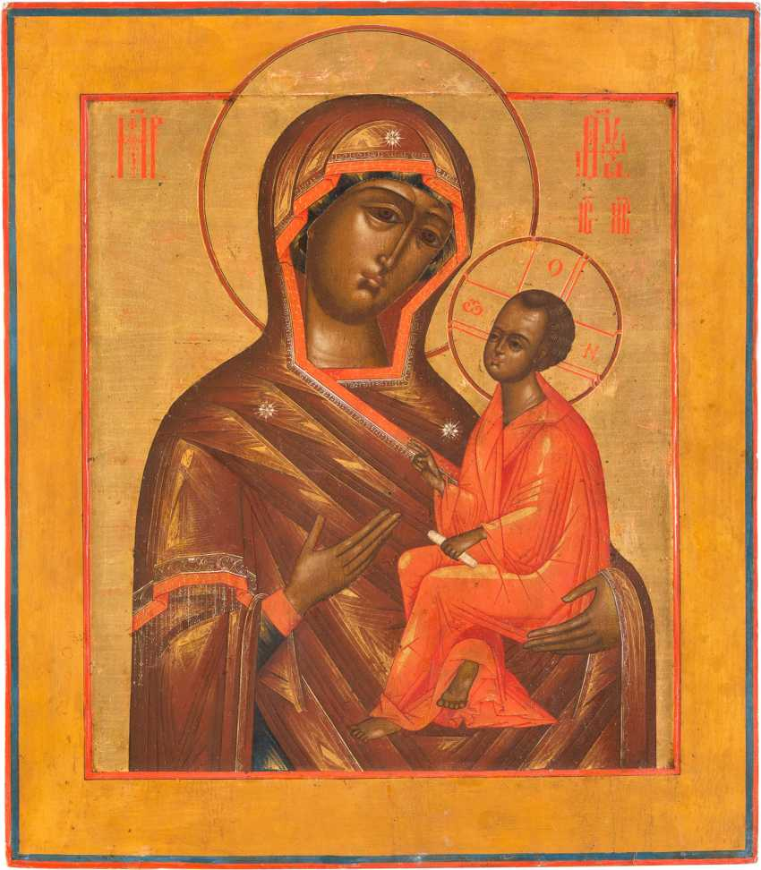 LARGE-SCALE ICON OF THE MOTHER OF GOD OF TIKHVIN (TICHWINSKAJA) WITH SILVER OKLAD - photo 2