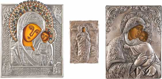 THREE ICONS WITH OKLAD: TWO MIRACULOUS IMAGES OF THE MOTHER OF GOD AND SAINT - photo 1