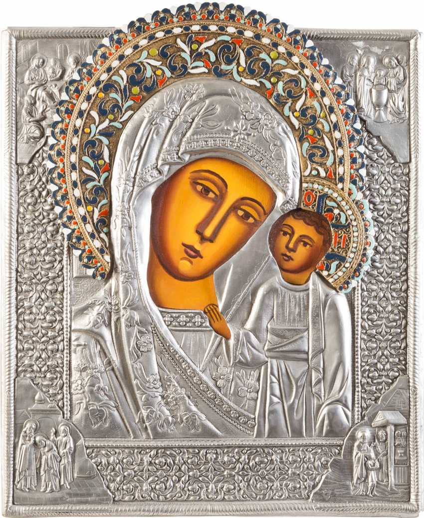 THREE ICONS WITH OKLAD: TWO MIRACULOUS IMAGES OF THE MOTHER OF GOD AND SAINT - photo 4