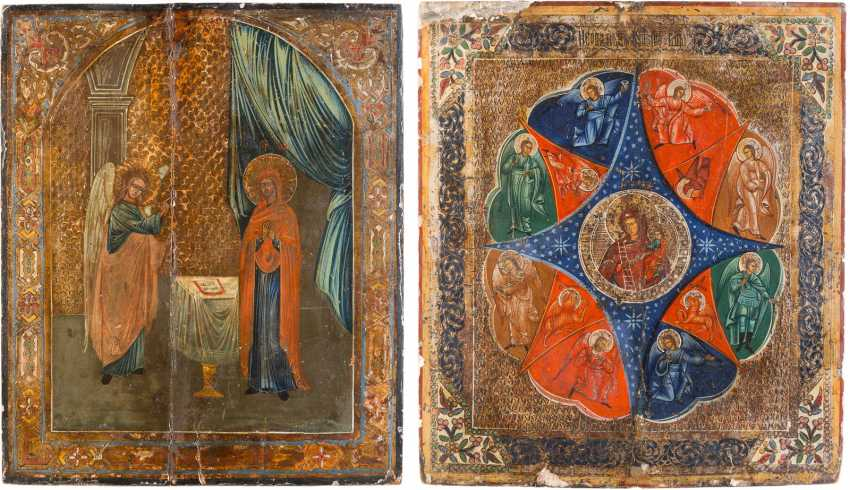 TWO LARGE ICONS: MOTHER OF GOD 'NON-COMBUSTIBLE BUSH AND THE ANNUNCIATION OF THE MOTHER OF GOD - photo 1