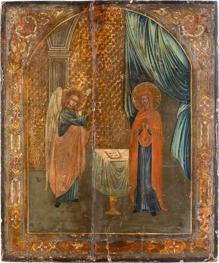 TWO LARGE ICONS: MOTHER OF GOD 'NON-COMBUSTIBLE BUSH AND THE ANNUNCIATION OF THE MOTHER OF GOD - photo 2