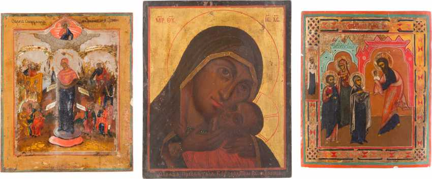 THREE ICONS: THE MOTHER OF GOD KASPEROWSKAJA, THE MOTHER OF GOD 'JOY OF ALL THE SUFFERING AND OFFERING OF CHRIST IN THE TEMPLE - photo 1