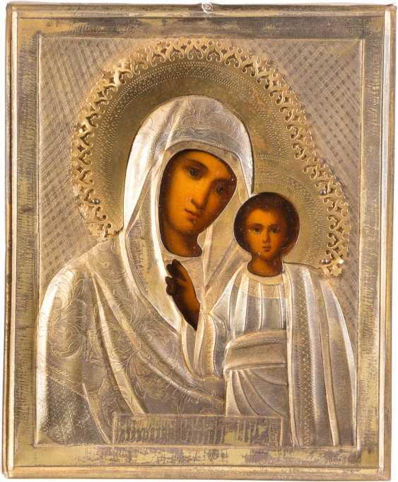 SMALL ICON OF MOTHER OF GOD OF KAZAN (KAZANSKAYA) WITH OKLAD - photo 1