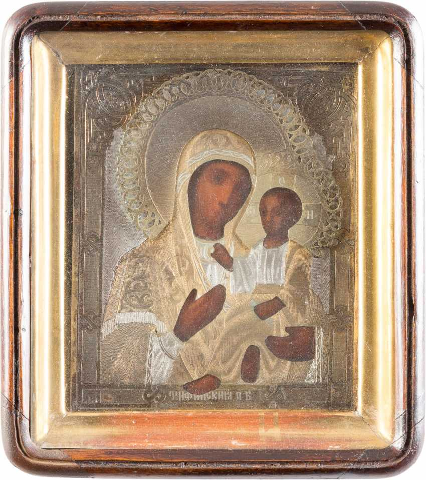 SMALL ICON OF MOTHER OF GOD OF TIKHVIN (TICHWINSKAJA) WITH SILVER OKLAD, IN THE ICON CASE - photo 1