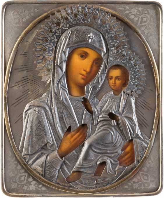 LARGE ICON OF THE MOTHER OF GOD OF TIKHVIN (TICHWINSKAJA) WITH SILVER OKLAD - photo 1