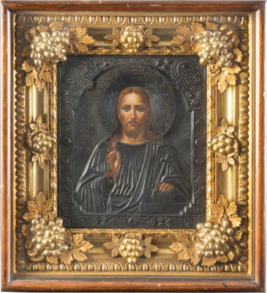 ICON WITH CHRIST PANTOCRATOR WITH SILVER OKLAD, IN THE ICON CASE - photo 1