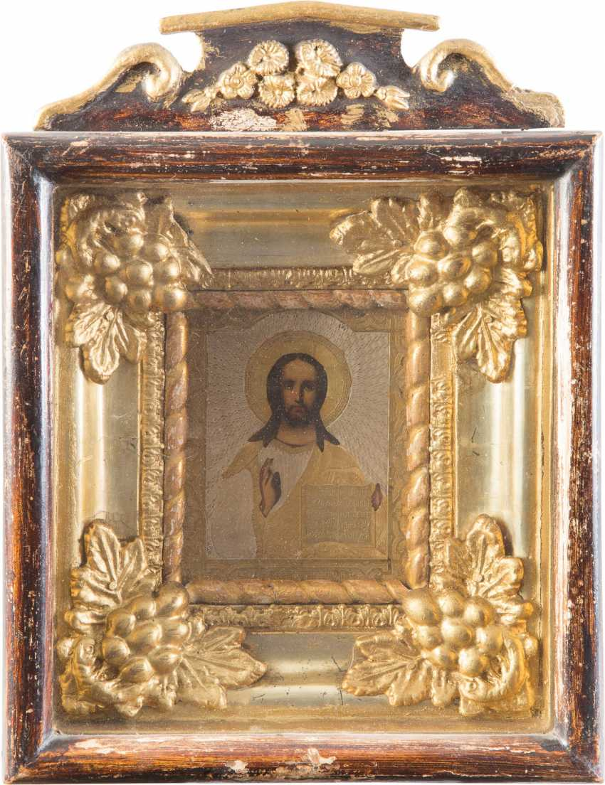 A SMALL ICON OF CHRIST PANTOCRATOR WITH GILDED OKLAD IN THE ICON CASE - photo 1