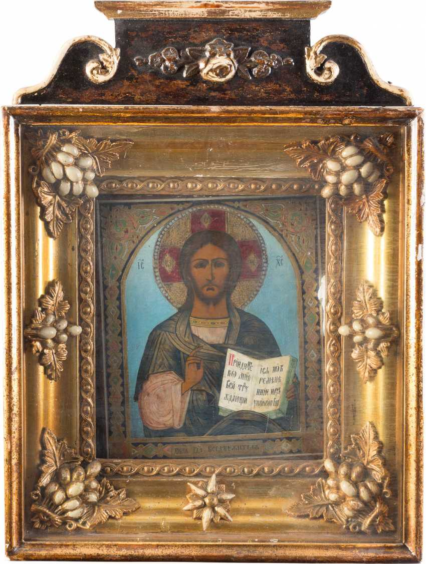 ICON WITH CHRIST PANTOCRATOR IN THE ICON CASE - photo 1