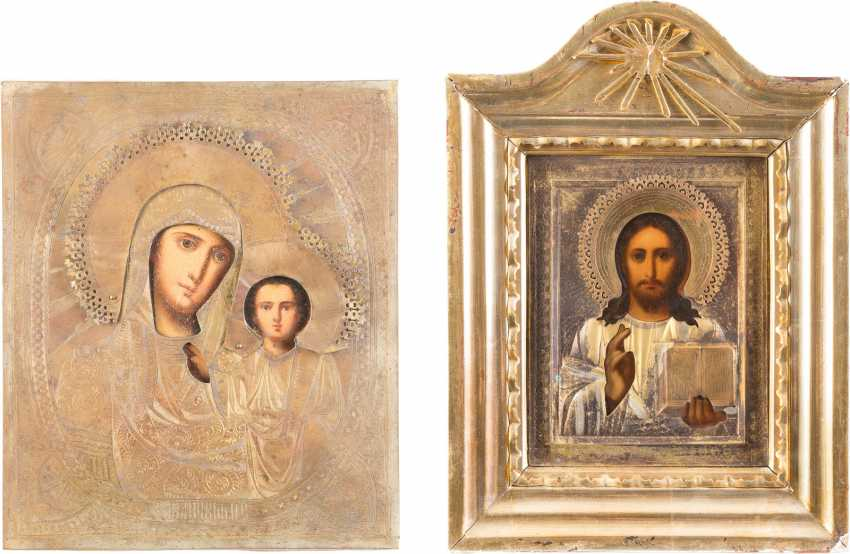 TWO ICONS WITH OKLAD CHRIST PANTOKRATOR AND MOTHER OF GOD OF KAZAN (KAZANSKAYA) - photo 1