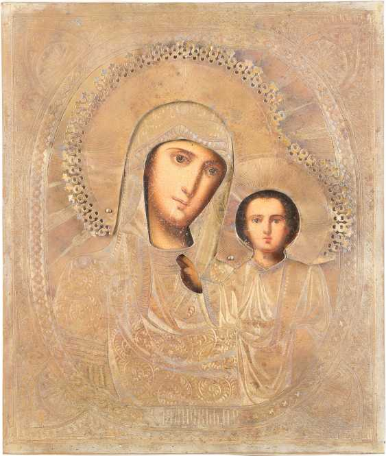 TWO ICONS WITH OKLAD CHRIST PANTOKRATOR AND MOTHER OF GOD OF KAZAN (KAZANSKAYA) - photo 3
