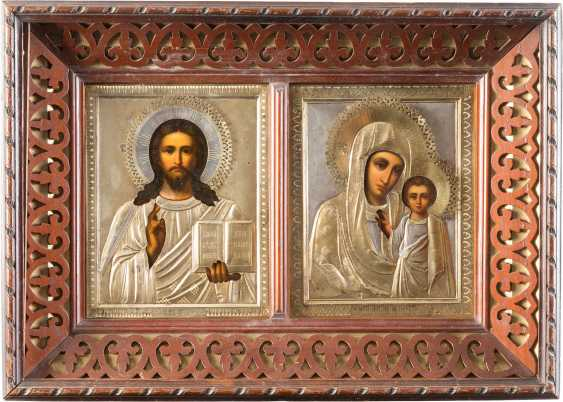 PAIR OF WEDDING ICONS OF CHRIST PANTOCRATOR AND THE MOTHER OF GOD OF KAZAN WITH A SILVER OKLAD, IN THE ICON CASE - photo 1