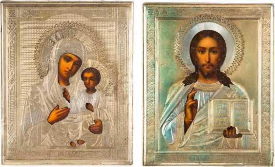 TWO ICONS WITH VERMEIL-OKLAD: THE MOTHER OF GOD IWERSKAJA AND CHRIST PANTOCRATOR - photo 1