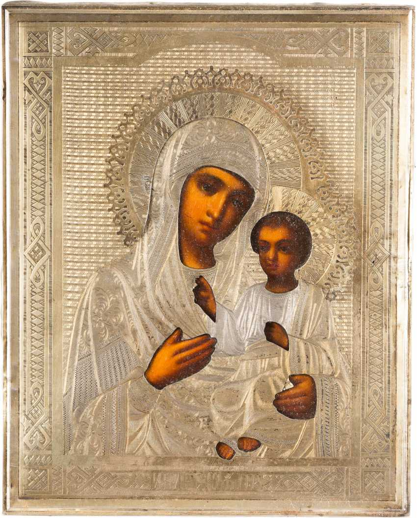 TWO ICONS WITH VERMEIL-OKLAD: THE MOTHER OF GOD IWERSKAJA AND CHRIST PANTOCRATOR - photo 3