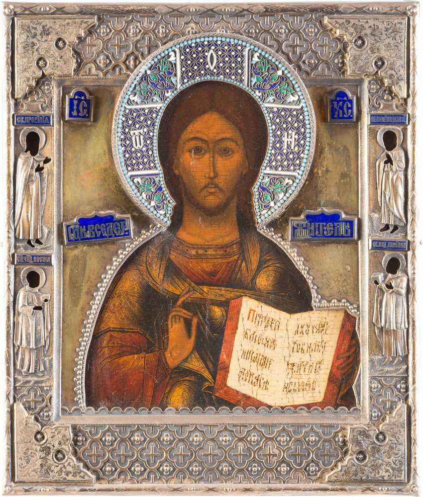 ICON WITH CHRIST PANTOKRATOR WITH ENAMELED VERMEIL-RIZA - photo 1