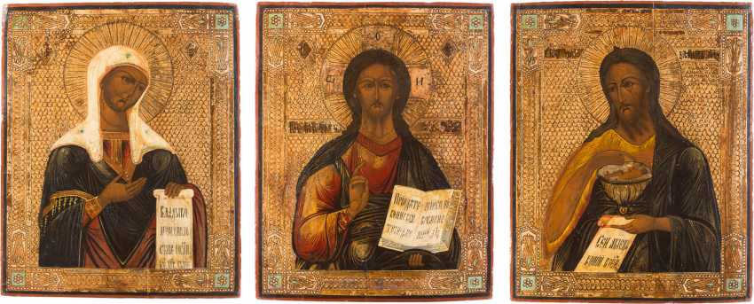 THREE-PIECE DEESIS: CHRIST PANTOCRATOR FLANKED BY THE MOTHER OF GOD AND JOHN THE FORERUNNER - photo 1