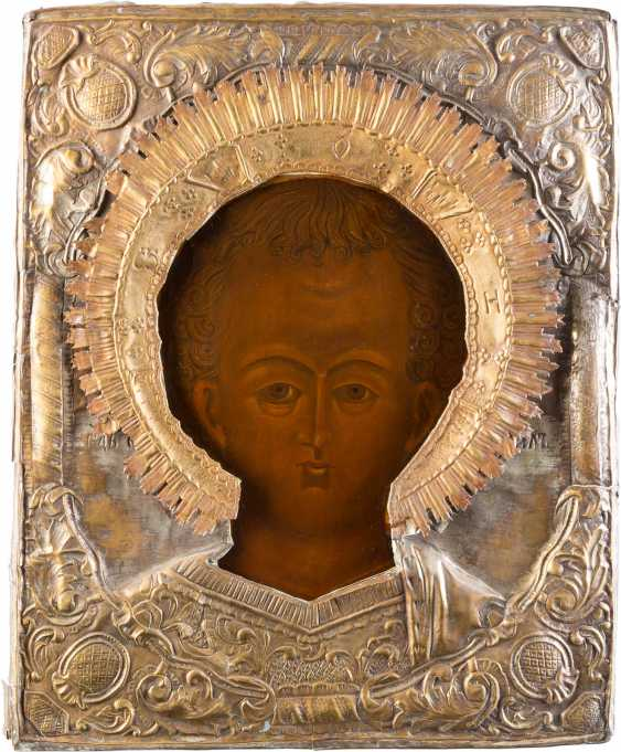 LARGE ICON OF CHRIST EMMANUEL WITH OKLAD - photo 1