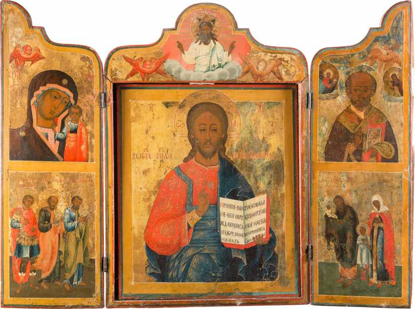 MONUMENTAL TRIPTYCH WITH CHRIST PANTOCRATOR, THE MOTHER OF GOD OF KAZAN AND SELECTED SAINTS - photo 1
