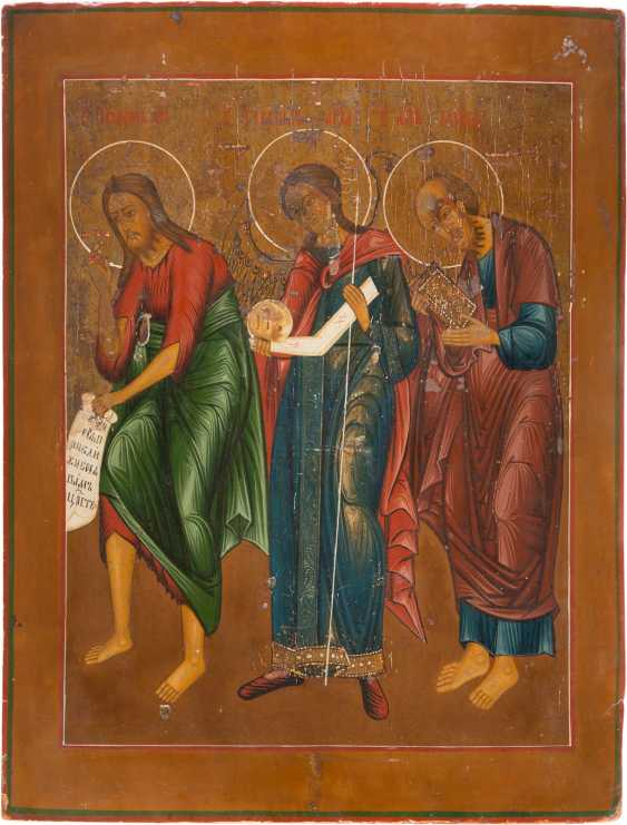LARGE-FORMAT ICON WITH JOHN THE BAPTIST, THE ARCHANGEL GABRIEL AND THE APOSTLE PAUL - photo 1