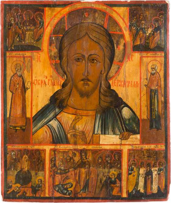 LARGE ICON OF CHRIST PANTOKRATOR WITH FEAST DAYS - photo 1