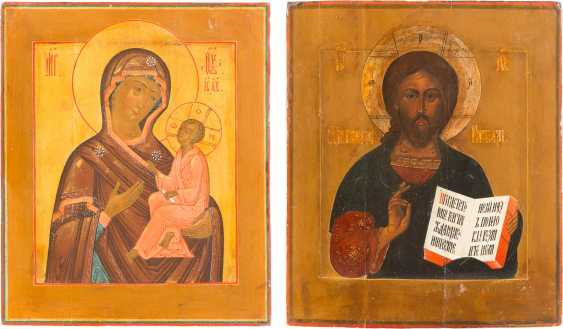 TWO ICONS OF CHRIST PANTOKRATOR AND MOTHER OF GOD OF TIKHVIN (TICHWINSKAJA) - photo 1