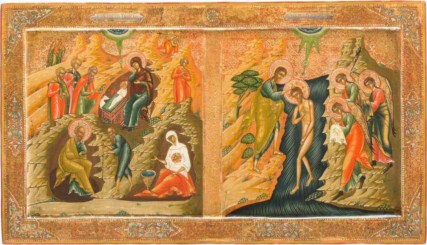 LARGE-FORMAT ICON WITH THE BIRTH AND THE BAPTISM OF CHRIST FROM A CHURCH ICONOSTASIS - photo 1