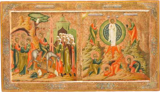 LARGE-FORMAT ICON WITH THE ENTRY OF CHRIST INTO JERUSALEM AND THE TRANSFIGURATION FROM A CHURCH ICONOSTASIS - photo 1
