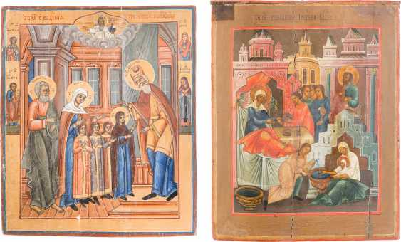 TWO LARGE ICONS: BIRTH AND TEMPLE OF DEMISE OF THE MOTHER OF GOD - photo 1