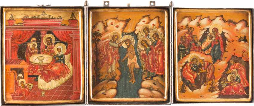 TRIPTYCH WITH THE NATIVITY OF THE MOTHER OF GOD, THE BAPTISM OF CHRIST AND THE BIRTH OF CHRIST - photo 1
