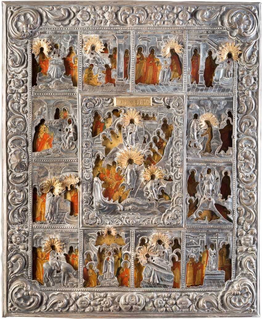 LARGE-FORMAT ICON WITH THE HELL RIDE AND AUFERSTHUNG OF CHRIST WITH THE TWELVE GREAT FEASTS OF THE ORTHODOX CHURCH YEAR, WITH OKLAD - photo 1