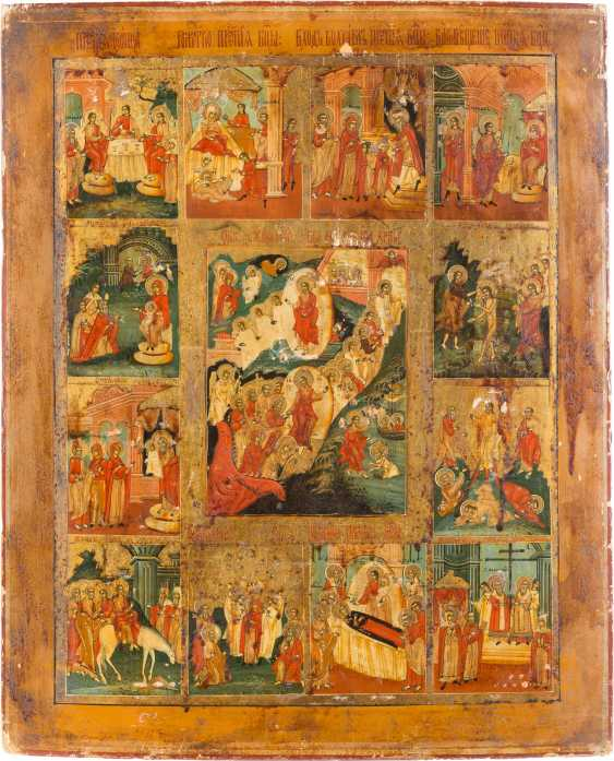 LARGE-FORMAT ICON WITH THE HELL RIDE AND AUFERSTHUNG OF CHRIST WITH THE TWELVE GREAT FEASTS OF THE ORTHODOX CHURCH YEAR, WITH OKLAD - photo 2