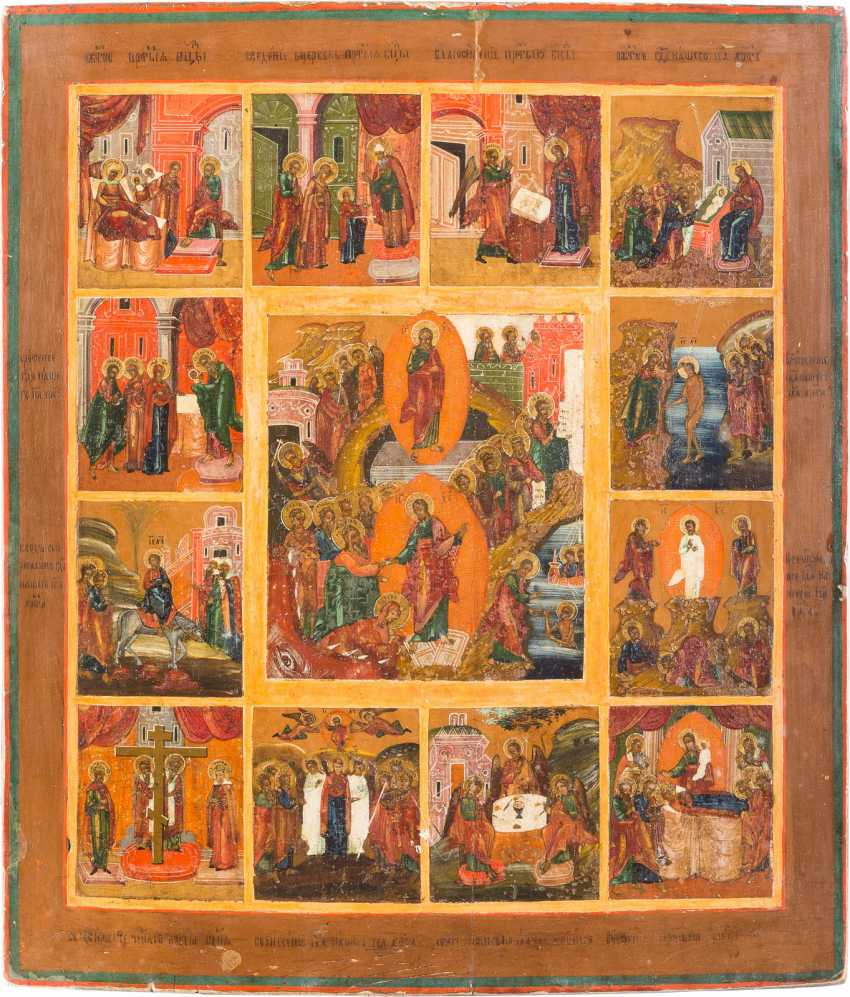 LARGE FESTIVE ICON WITH RESURRECTION AND TWELVE HIGH-STRENGTH - photo 1