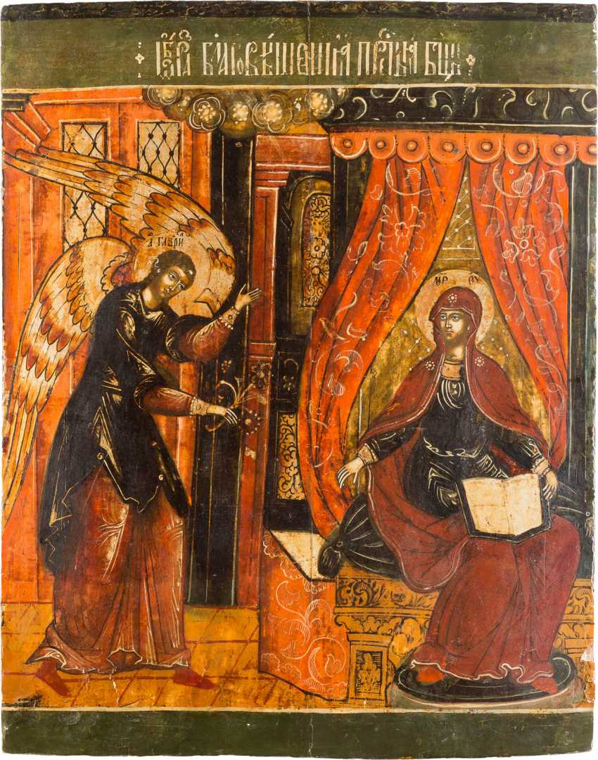 A MONUMENTAL ICON OF THE ANNUNCIATION OF THE MOTHER OF GOD FROM A CHURCH ICONOSTASIS - photo 1