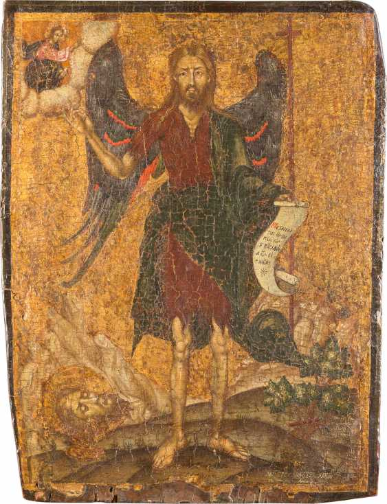 LARGE-FORMAT ICON WITH JOHN THE BAPTIST AS ANGEL OF THE DESERT - photo 1