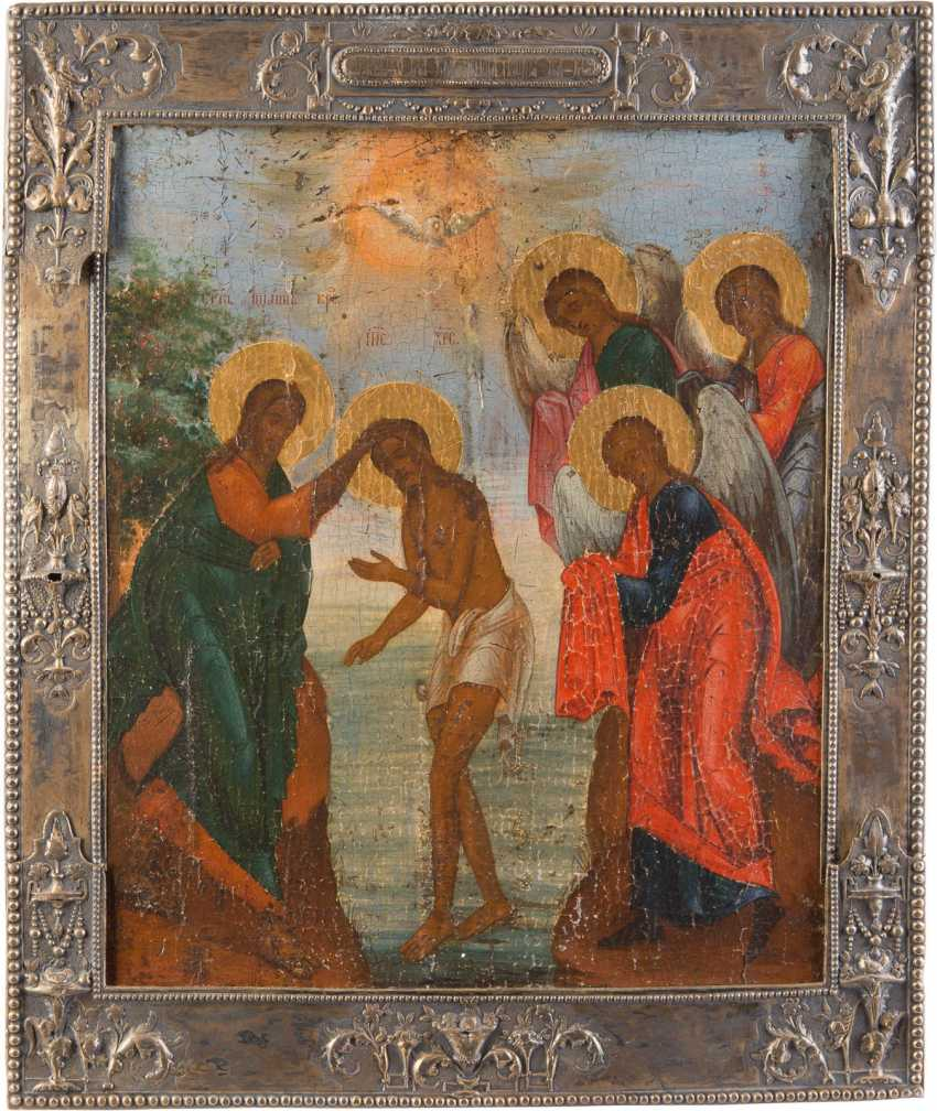 ICON OF THE BAPTISM OF CHRIST WITH A SILVER BASMA - photo 1